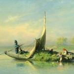 Крестьянская семья в лодке 1870 хм 34.8х62.5 Частное собрание Москва