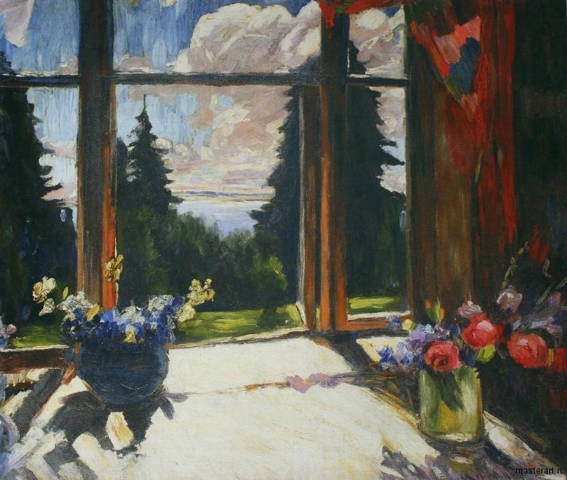 Веранда с цветами хм 82х96 Челябинская картинная галерея