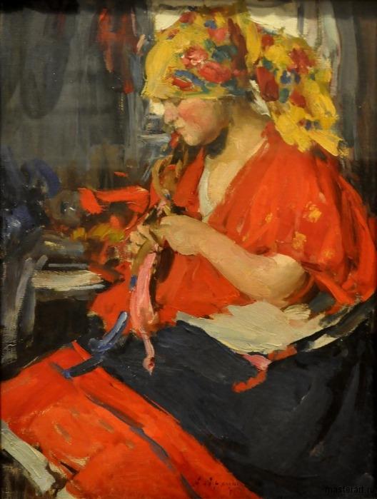 Девушка заплетающая косу