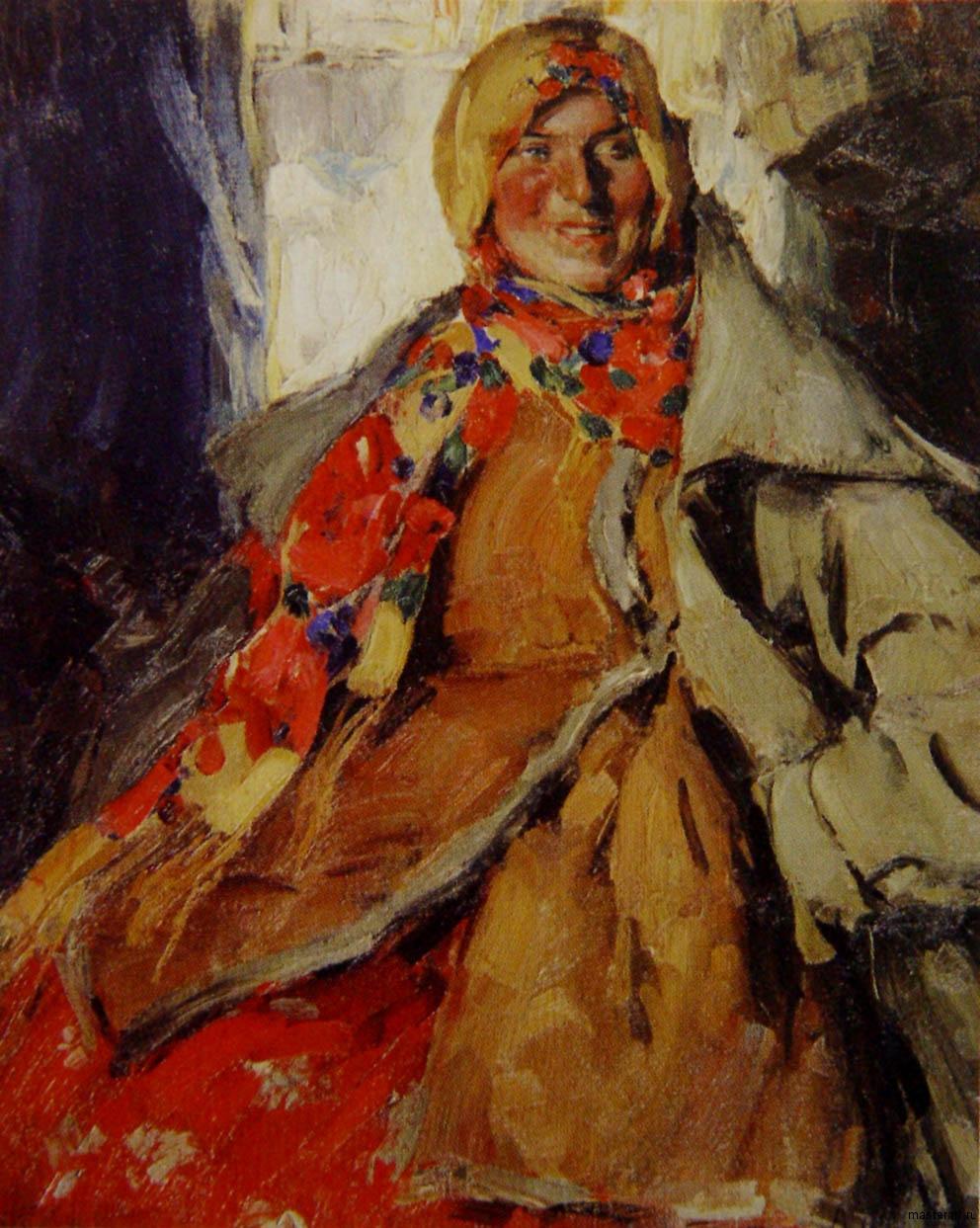 Женский портрет б на холсте м 104х84 Астраханская государственная картинная галерея