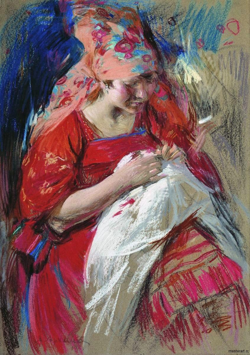 Крестьянская девушка за рукоделием 1917 к пастель уголь 99х69 Архангельский областной музей изобразительных искусств