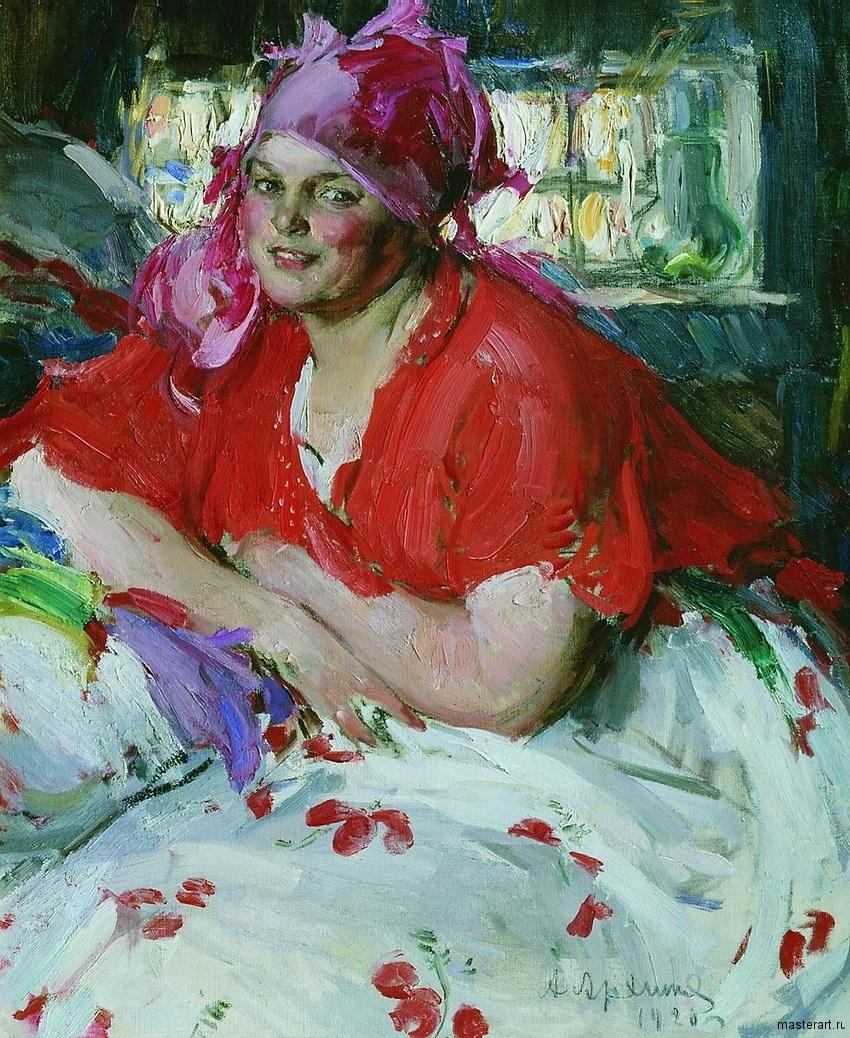 Молодая крестьянка в красной кофте 1920 хм 103х84 Архангельский областной музей изобразительных искусств