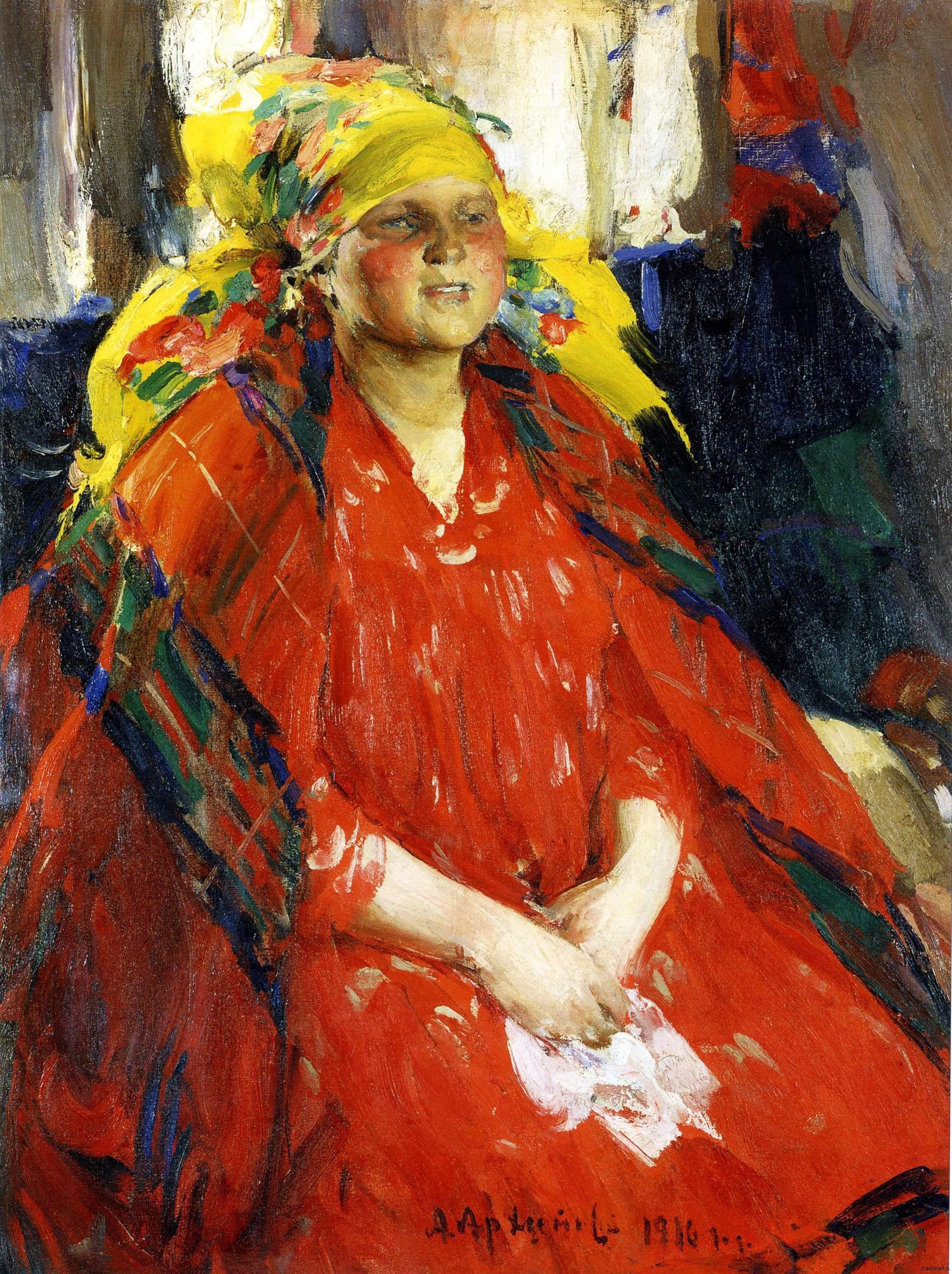 Молодая крстьянка в желтом платке 1916 хм 110х87 Киевксий национальный музей русского искусства