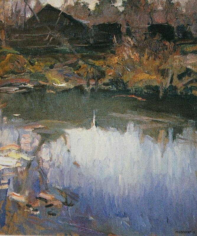 Пейзаж с озером 1900е хм 80.3х68.6 ГРМ