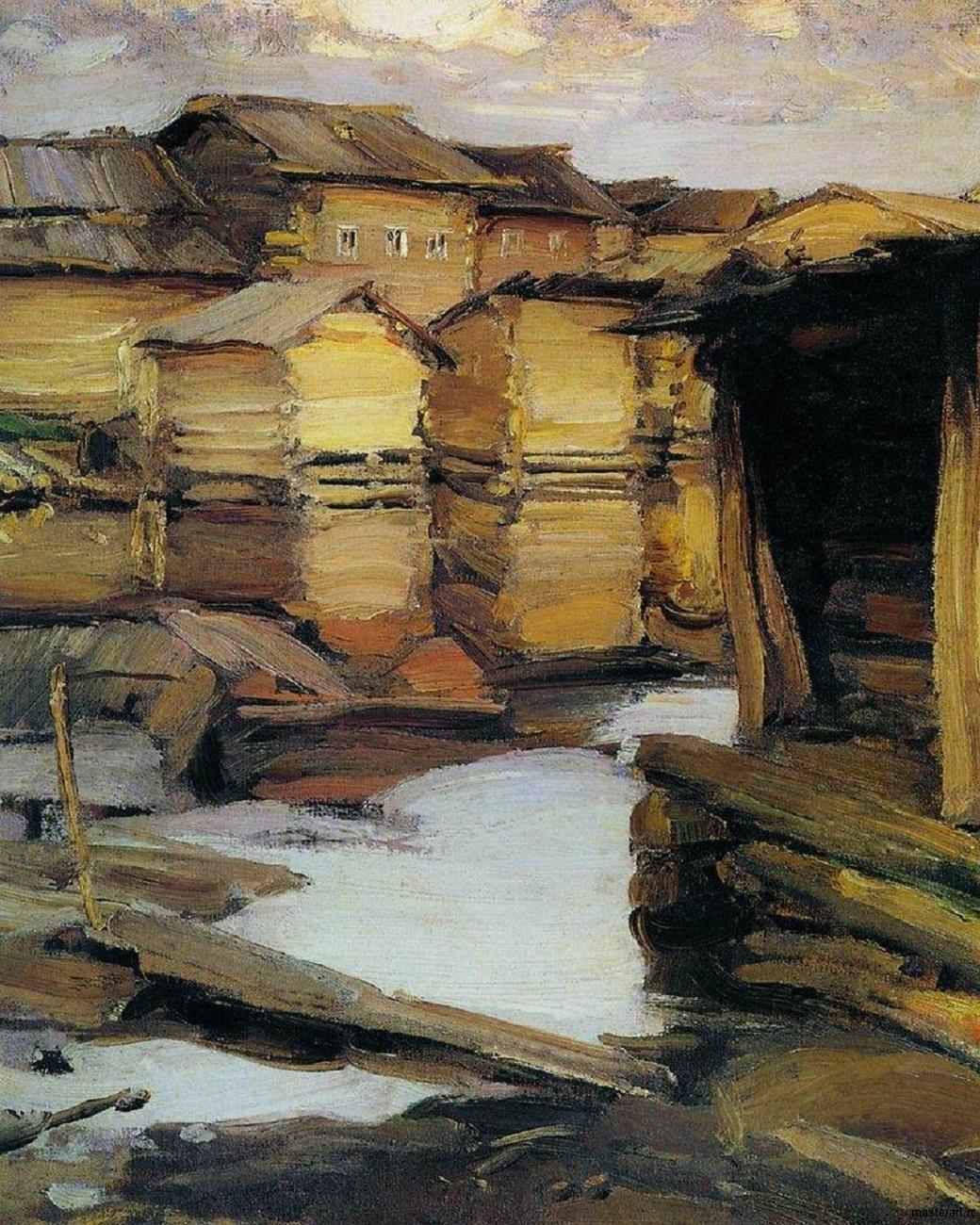 Северная деревня 1900е хм 87.6х67.6 ГТГ