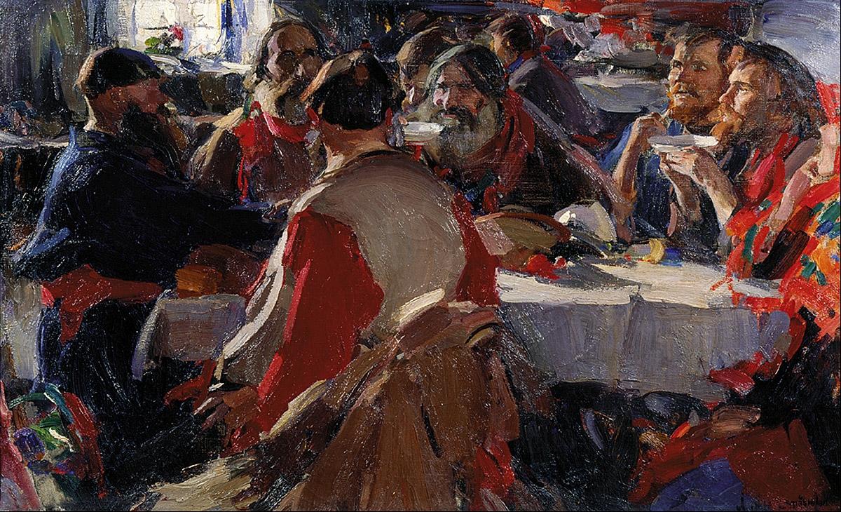 Чаепитие 1919 хм 79х131 Астраханская государственная картинная галерея