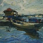Лодочная пристань на Севере Этюд 1902 хм 26х20 ГТГ