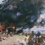Пожар в деревне Эскиз неосуществленной картины 1920 хм 74.5х99.5 ГРМ