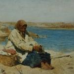 Старушка на берегу Оки 1889 хм 23.4х35.7 ГТГ