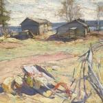 Деревня на Севере хм 74х102 Частная коллекция