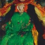 Крестьянка в зеленом сарафане хм 120х78.5 Частная коллекция