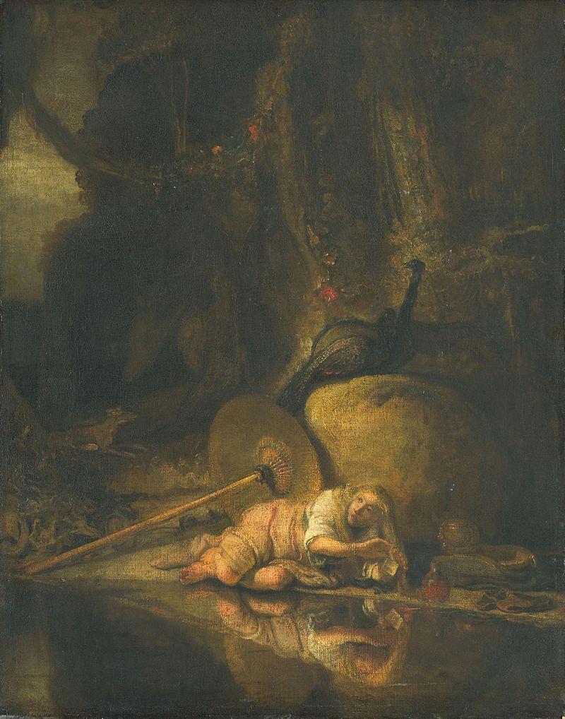 Hera verbergt zich tijdens het gevecht van de goden met