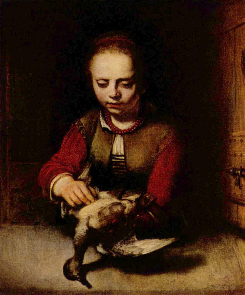 Young Girl Plucking a Duck.