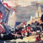 Коровин Пристань в Новгороде 1906 Эскиз декорации к опере НА Римкого-Корсакова Садко