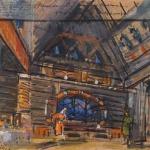 Коровин Эскиз декорации для постановки Русалочка км 29х41 Частная коллекция