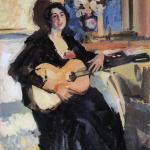 Коровин Дама с гитарой 1911 хм 87.2х67 Костромской государственный художественный музей