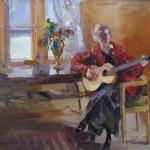 Коровин Девушка с гитарой 1914 хм 64х87 Ивановский областной худож музей