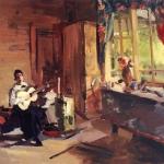 Коровин Девушка с гитарой 1916 хм 67х89 Вологодская обл картинная галерея