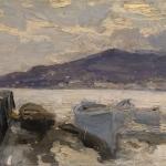 Коровин Пришвартованные лодки 1890 дм 27х35 Частная коллекция