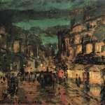 Коровин Ночная улица Париж 1902 б картон м темп 12.7х17.8 ГТГ
