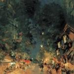 Коровин Ницца Улица ночью 1909 дерево м 40х32 ГТГ