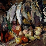 Коровин Рыбы вино и фрукты 1916 хм 64.7х86.8 ГТГ