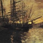 Коровин Корабли Марсель 1890е хм 45х66 Ярославский худож музей