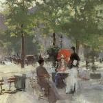Коровин Парижское кафе 2 пол 1890х хм 51.8х42.8 ГТГ