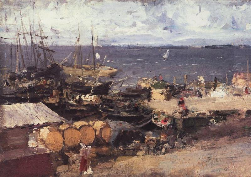 Коровин Архангельский порт на Двине 1894 дм 21х33 Тульский обл худлож музей