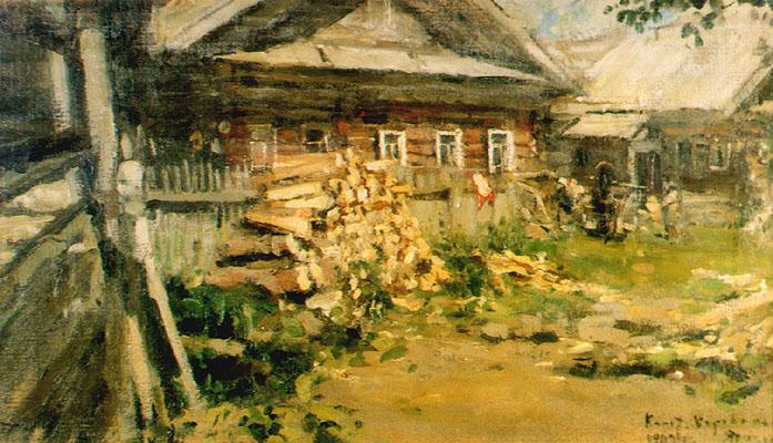 Коровин Деревня 1902 хм 40.5х71 Саратовский гос худ музей им АН Радищева
