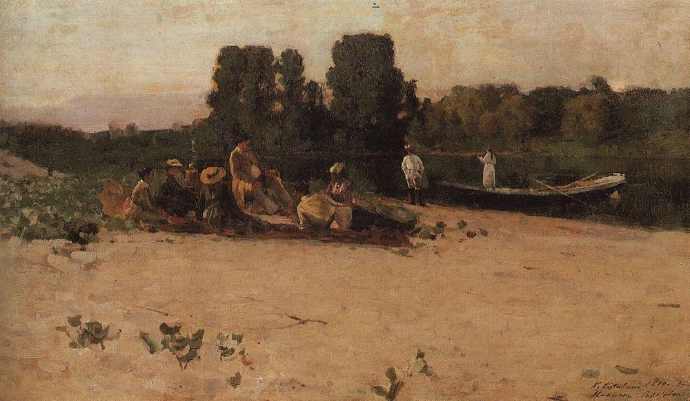 Коровин Пикник 1880 хм 31х51 ГТГ