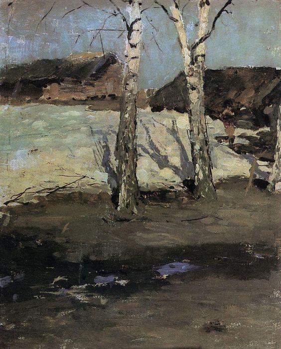 Коровин Последний снег 1870е Дом-музей ВД Поленова