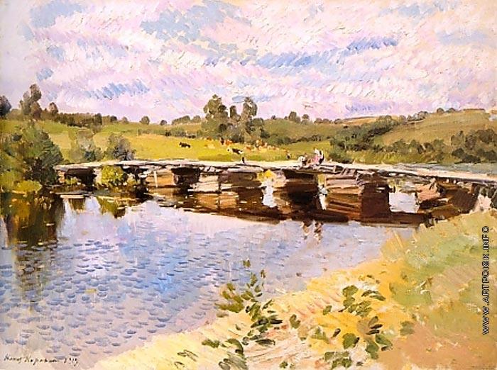 Коровин Сельский пейзаж с мостом 1919