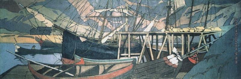 Коровин У становища корабля 1899-1900 к смеш техника ГРМ