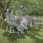 Коровин Девушка в белом сидящая в саду 1915