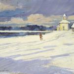 Коровин Зимний пейзаж с церковью 1926