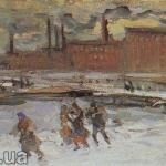 Коровин Пейзаж с фабричными строениями Москва 1908 хм ГРМ
