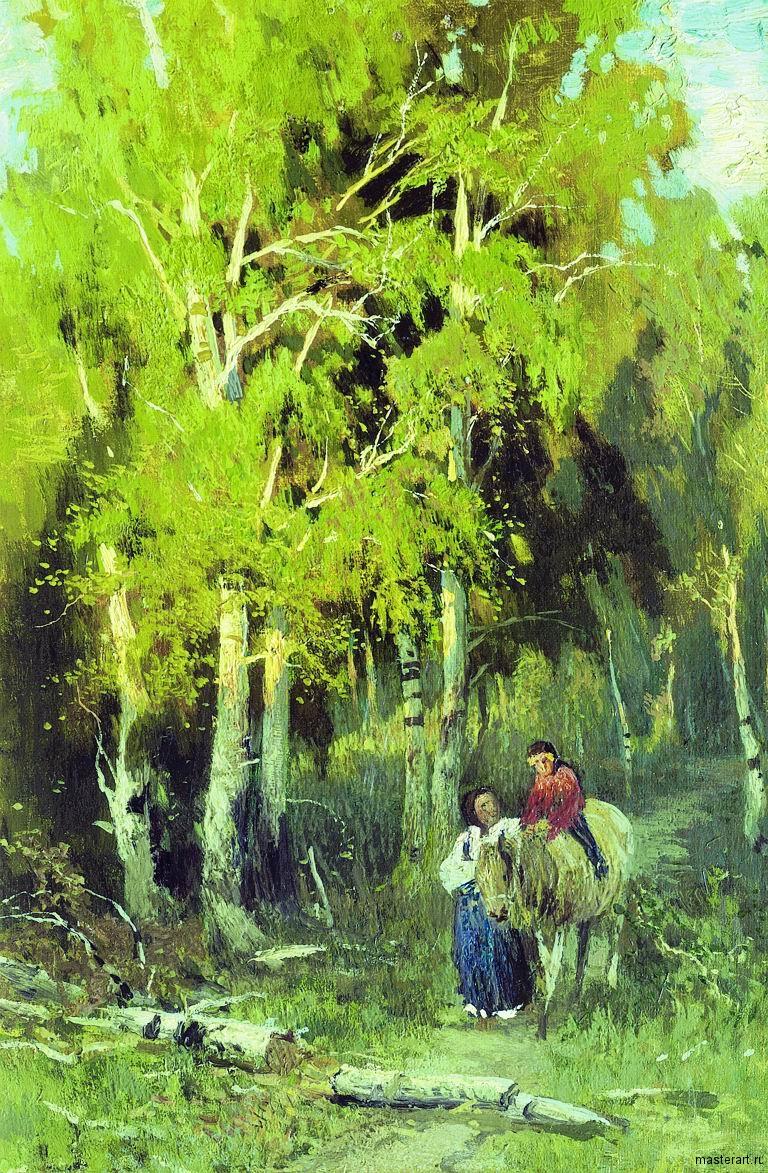 Дорога в березовом лесу