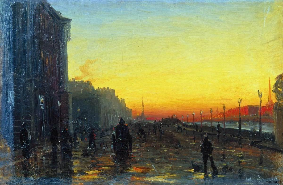 Заря в Петербурге 1869-1871 хм 23х33.5 ГТГ