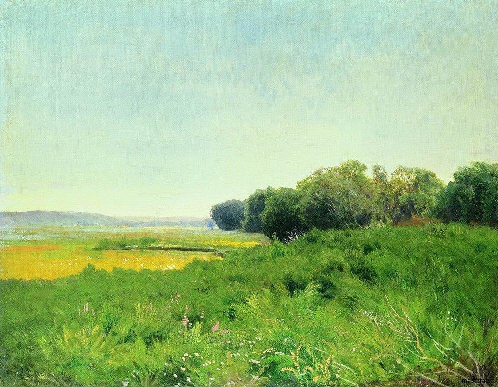 Мокрый луг 1872 Этюд для одноименной картины хм 31х40 ГТГ