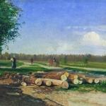 Бревна у дороги 1867-1869 дм 23х38.5 Саратовский государственный художественный музей