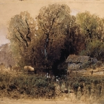 Заброшенная мельница 1871-1873 б акв гуашь белила галловые чернила кисть перо проскребание 44.1х51.9 ГТГ
