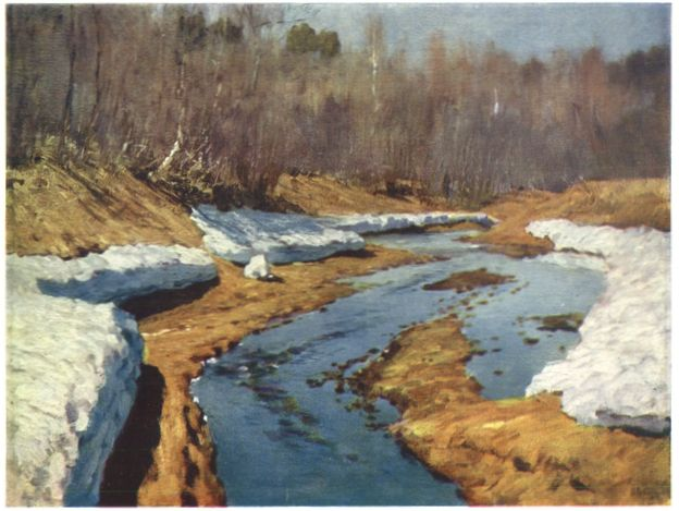 Левитан ИИ  Весна Последний снег 1895  хм 49х51  Частное собрание