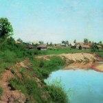 Левитан ИИ  Деревня на берегу реки 1883  хм 60х74  Саратовский гос художественный музей