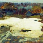 Левитан ИИ  Последний снег Саввинская слобода 1884  хм 18х29