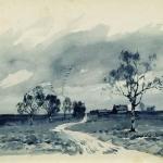 Левитан ИИ  Осенний пейзаж (Перелет птиц) 1895  б акв  Нижегородский х м