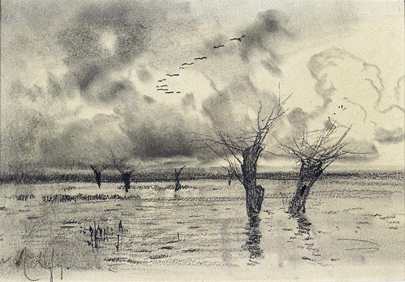 Левитан ИИ Журавли летят Разлив 1880е б кар 16х24 Тульский областной художественный музей