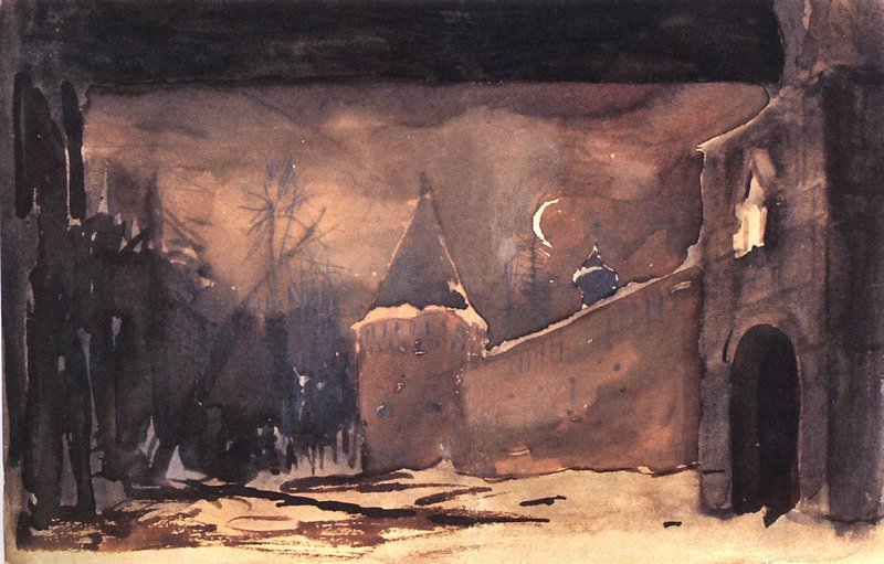 Левитан ИИ Монастырские стены и ворота 1885 Эскиз декорации к опере МИ Глинки Жизнь за царя б акв белила 23х36