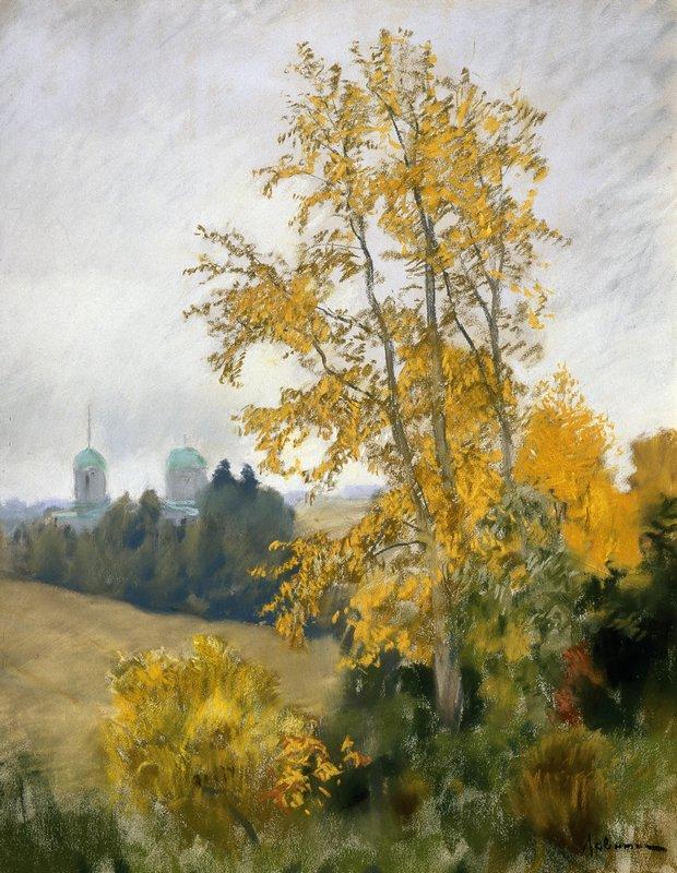 Левитан ИИ Осенний пейзаж с церковью 1890е б пастель 62х48 ГРМ