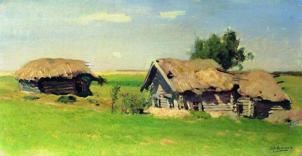 Левитан ИИ Пейзаж с избами 1885 хм Частное собрание